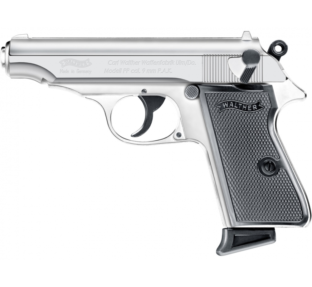 Plynová pištoľ Umarex Walther PP, chróm, kal. 9 mm